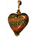 Ca'd'oro Black & Orange Heart Pendant
