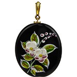 Black Murano Glass with Handpainted Porcelain Flowers Pendant