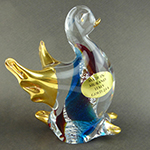 Murano Glass Duck Standing Gold Accent Aqua and Topaz Swirls