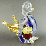 Murano Glass Duck Standing Gold Accent Blue and Topaz