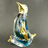 Murano Glass Penguine Standing Gold Accent Blue and Green Swirls