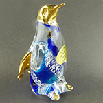 Murano Glass Penguine Standing Gold Accent Blue and Silver Swirls