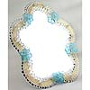 Murano Blue Flowers Venetian Glass Mirror Standing or Hanging
