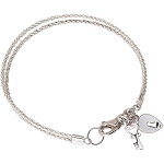 Key to My Heart Sterling Silver Double Strand Bracelet