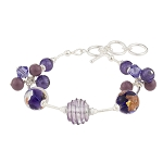 Plum Luna Melody Murano Glass Beads Bracelet, CellaBella 7 Inches