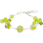 Peridot Green Luna Melody Murano Glass Beads Bracelet, CellaBella