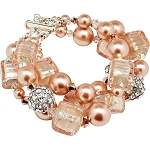 Pink Perfection Over the Top 3 Strand Bracelet Murano Glass and Crystal Bling Bracelet