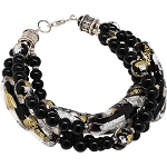Vicenza Flash Black, Gold & Silver 4 Strand Bracelet, 8 Inches