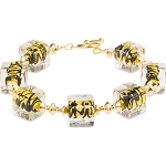 ZigZag Black and Gold Murano Glass Bead Bracelet