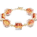 ZigZag Red and Gold Murano Glass Bead Bracelet