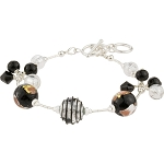 Black Luna Melody Murano Glass Beads Bracelet, CellaBella