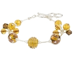 Topaz and Moca Swarovski Luna Melody Murano Glass Beads Bracelet, CellaBella
