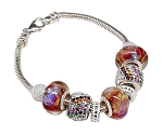 Northern Lights CellaBella European Charm Bracelet with Murano Glass and Crystals
