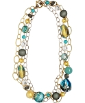 Luxury Statement in Aqua, CellaBella Necklace 20 Inches Multi Strands