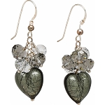 Smoke and Crystal Murano Glass and Swarovski Crystal Earrings