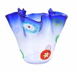 5in H x 6in DIA Blue Fazzoletto (Handkerchief)  w/Murrine Murano Glass Vase