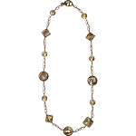 Topaz and Gold Foil Venetian Glass Beaded Necklace 32 Inches