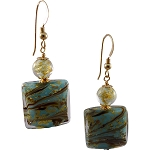 Calcedonia Murano Glass Turquoise Ca'd'oro Gold Foil Earrings with Gold Fill Ear Wires