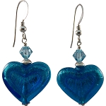 Double Heart Aqua on White Gold Foil Murano Glass Earrings with Sterling Silver Earwires
