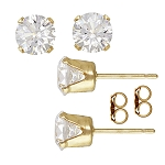 Cubic Zirconia Earrings 6mm, Gold Fill Post