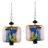 Fantasy Sparkles Earrings, Black Dichroic Venetian Glass Earrings