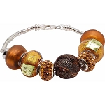 Autumn Breeze Murano Glass Charm Bead Bracelet 7.5 Inches Sterling Silver