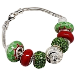 Red and Green Signature Charm Bracelet, Sterling Silver and Murano Glass Charm Beads