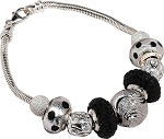 Black and White Sparkle Sterling Silver European Charm Bracelet