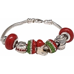 Here Comes Santa Stocking & Chimney European Charm Bracelet