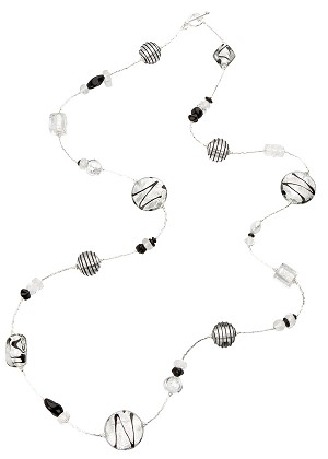 Black and White Necklace, 34 Inch