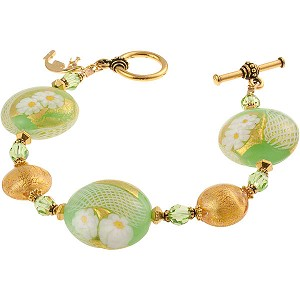Green and Gold Zanfirico Daisy Bracelet