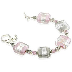 Pink and Grey Incalmo Bracelet Murano Glass Rectangles with Silver Stripes and Swarovski Crystals