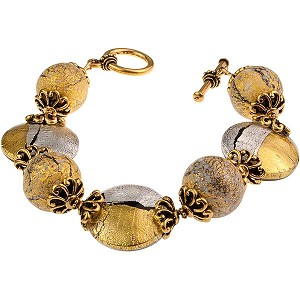Pezzi Bracelet - Clear over Silver and Gold Foil