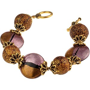 Pezzi Bracelet - Amethyst over Silver and Gold Foil