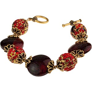 Pezzi Bracelet - Red over Silver and Gold Foil