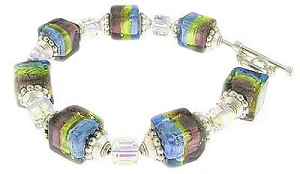 Tri Color Blue,Green and Purple Murano