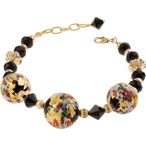 Klimt Bracelet, Gold, Adjustable Murano Glass Beads