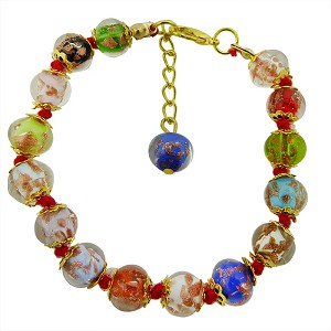 Multi Colors Aventurina Bracelet 7.5 Inch Red Stringing with 1 1/4 Inch Extender, Gold Tone Clasp Authentic Murano Glass Beaded
