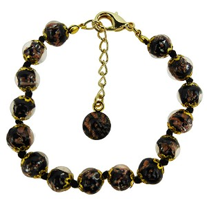 Black Aventurina Bracelet 7.5 Inch  with 1 1/4 Inch Extender, Gold Tone Clasp Authentic Murano Glass Beaded