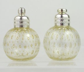 Clear and Gold Murano Glass Salt and Pepper Shakers