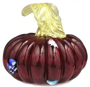 Murano Glass Mouthblown Piccolina Murrine Pumpkin Red
