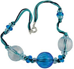 Water Colors 3 Blown Bead Necklace 18Inch
