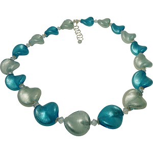 Shades of Aqua Murano Glass Twists Necklace 18 Inches with 2/12 Extension