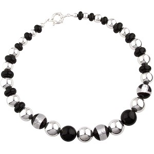 Ventana Necklace, Black and Silver
