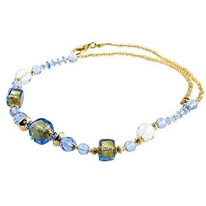 Graduated Venetian Cube Necklace, Blue over Gold