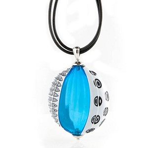 Murrine Focal Necklace  - White, Aqua, Black, 18 Inch