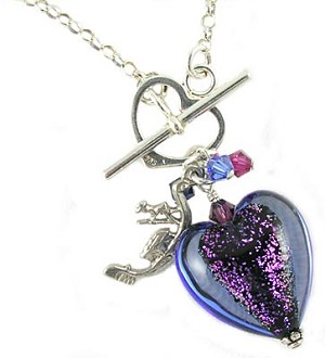 18 Inch Venetian Dichroic Heart Necklace - Blue & Pink