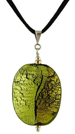 Pezzi Pendant - Green over Silver and Gold - 18 Inches