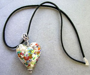 Klimt Millefiori Silver Heart Necklace