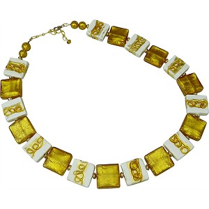 Regal Topaz and White Murano Glass Squares with Gold Swirls 20 Inches with 2/12 Extension
